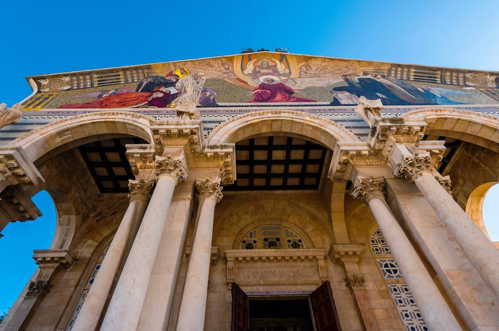 Stock Photo: 1566-1016866 Mosaic on the facade of the Church of All Nations Basilica of the Agony at the bottom of the Mount of Olives, Jerusalem, Israel