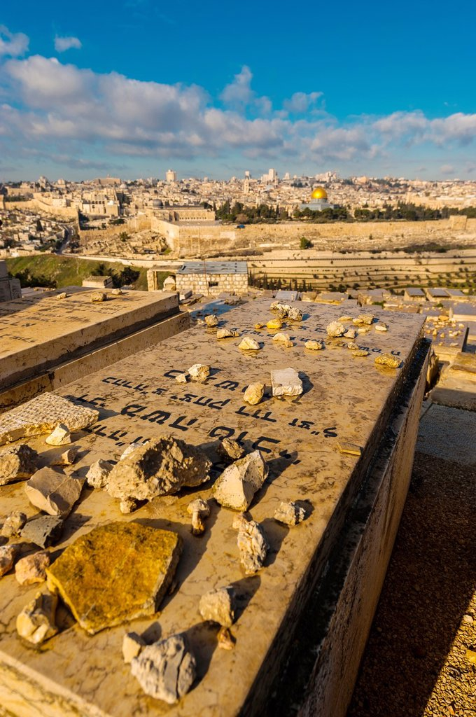 Stock Photo: 1566-1016938 Gravestones 150,000 graves, Jewish Cemetery on the Mount of Olives, with the Dome of the Rock on the Temple Mount in background, Jerusalem, Israel