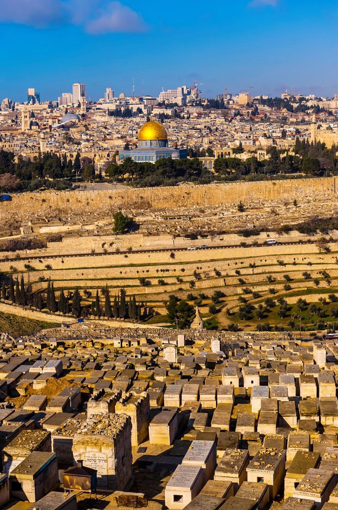 Stock Photo: 1566-1016944 Gravestones 150,000 graves, Jewish Cemetery on the Mount of Olives, with the Dome of the Rock on the Temple Mount in background, Jerusalem, Israel