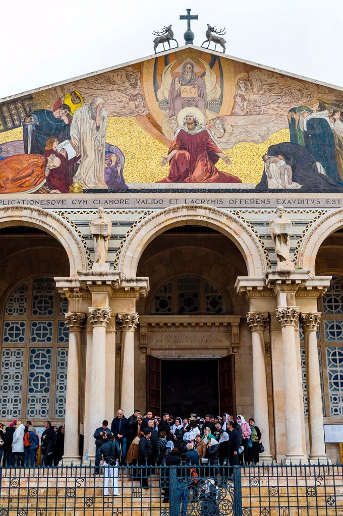 Stock Photo: 1566-1016960 Church of All Nations Basilica of the Agony at the bottom of the Mount of Olives, Jerusalem, Israel