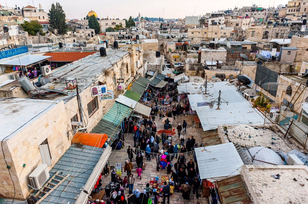 Stock Photo: 1566-1016993 Overview of the street market on El Wad Road in the Old City, near the Damascus Gate, seen from the 16th century ramparts, Jerusalem, Israel