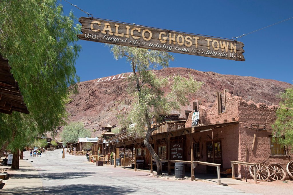 Stock Photo: 1566-1017040 Barstow, California - Calico Ghost Town, an 1880s silver mining town in the Mojave Desert that has been restored as a tourist attraction