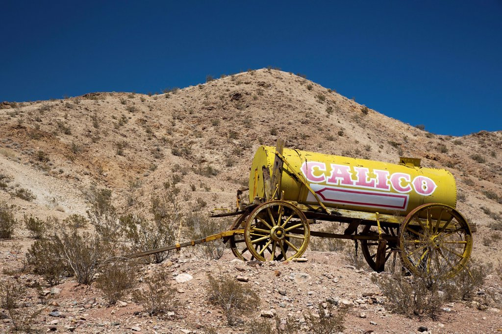 Barstow, California - A water wagon at Calico Ghost Town, an 1880s silver mining town in the Mojave Desert that has been restored as a tourist attraction : Stock Photo