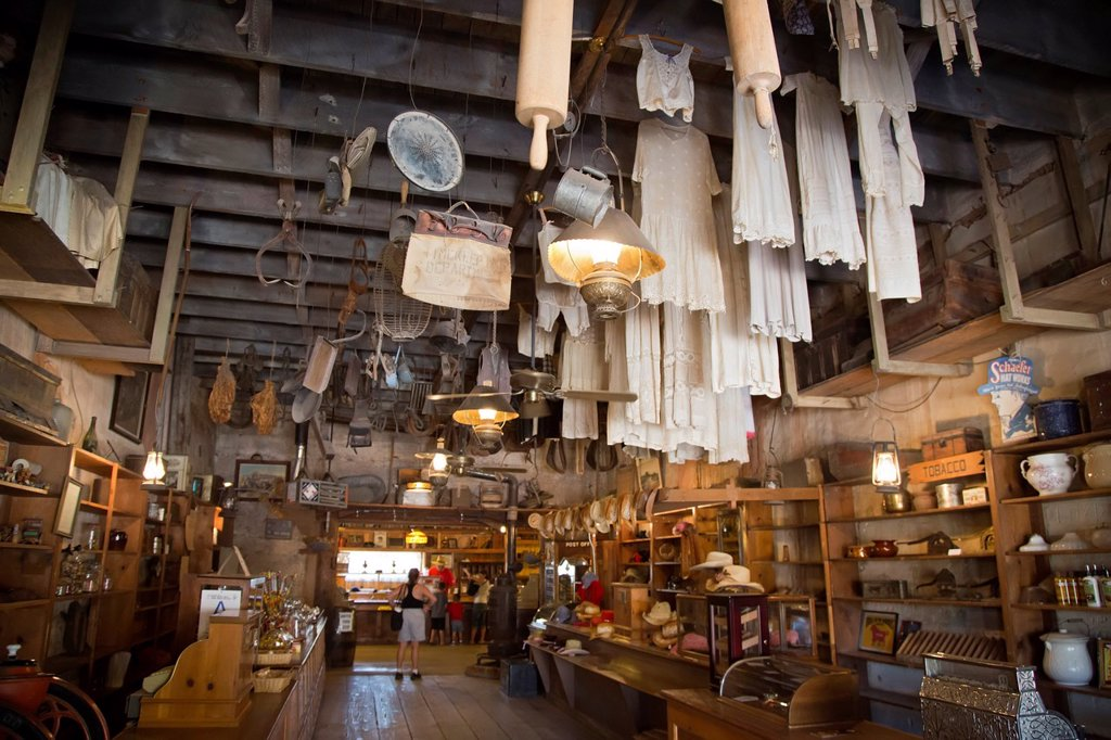 Stock Photo: 1566-1017044 Barstow, California - A store at Calico Ghost Town, an 1880s silver mining town in the Mojave Desert that has been restored as a tourist attraction