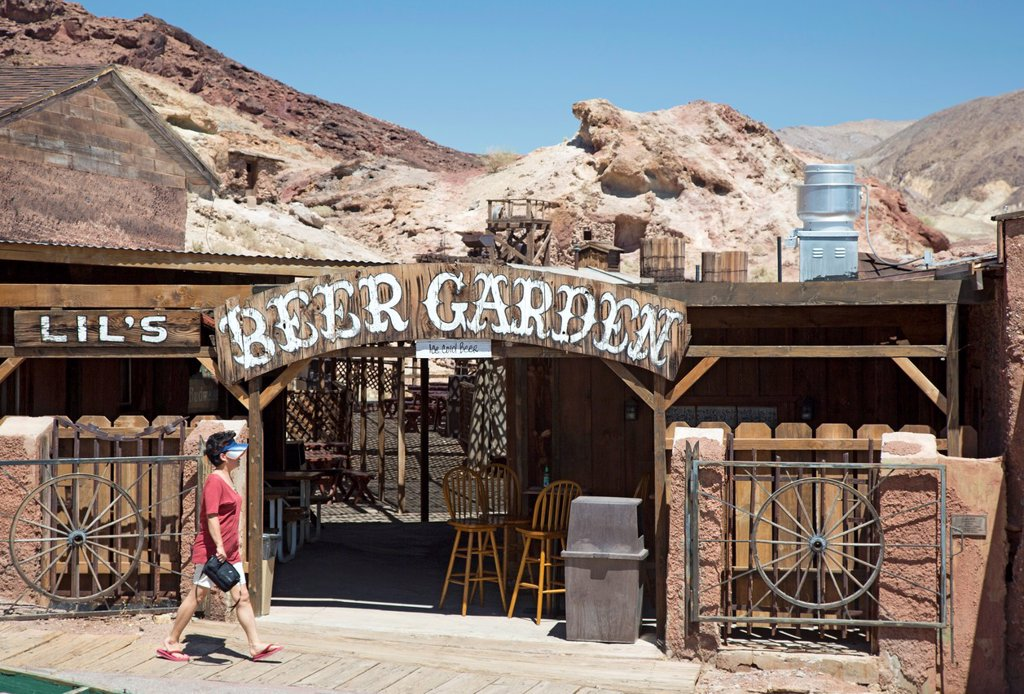Barstow, California - Calico Ghost Town, an 1880s silver mining town in the Mojave Desert that has been restored as a tourist attraction : Stock Photo