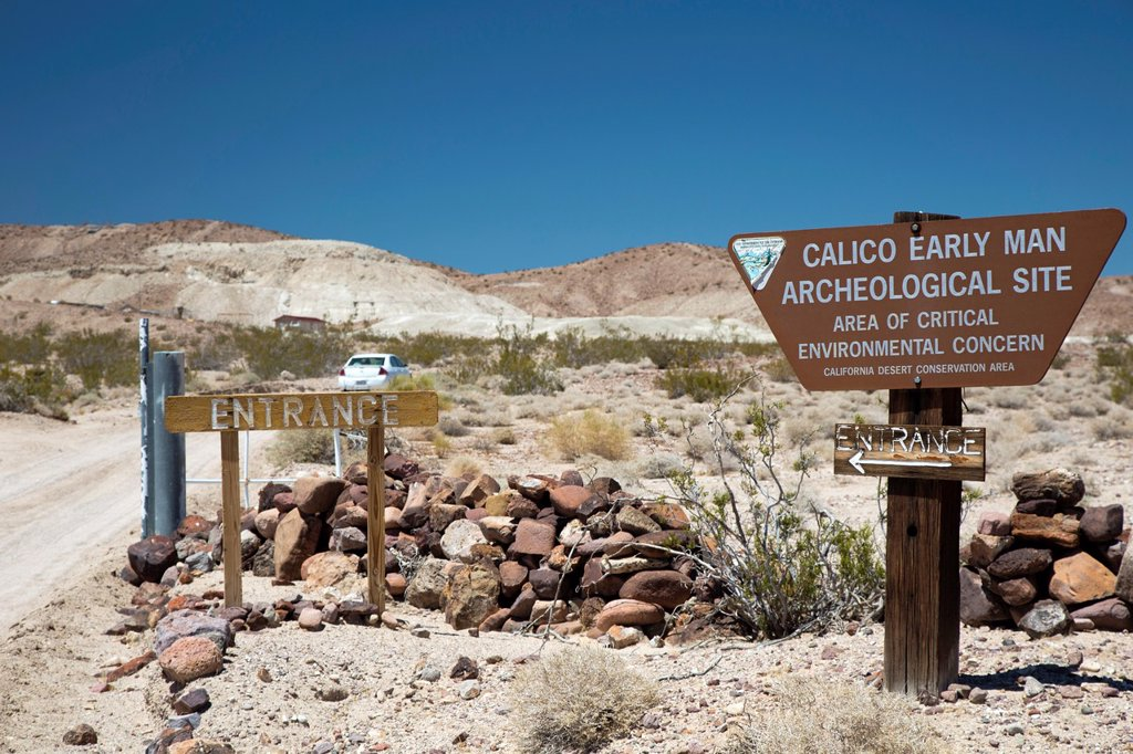 Stock Photo: 1566-1017047 Barstow, California - The Calico Early Man Archeological Site  Items resembling stone tools recovered from the site date to 200,000 years ago, scientists do not agree on whether they were made by early man or by natural geological processes