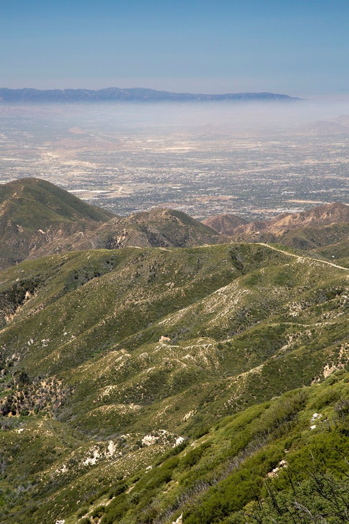 Los Angeles, California - Air pollution in the San Bernardino Valley, east of downtown Los Angeles, photographed from the San Bernardino Mountains : Stock Photo