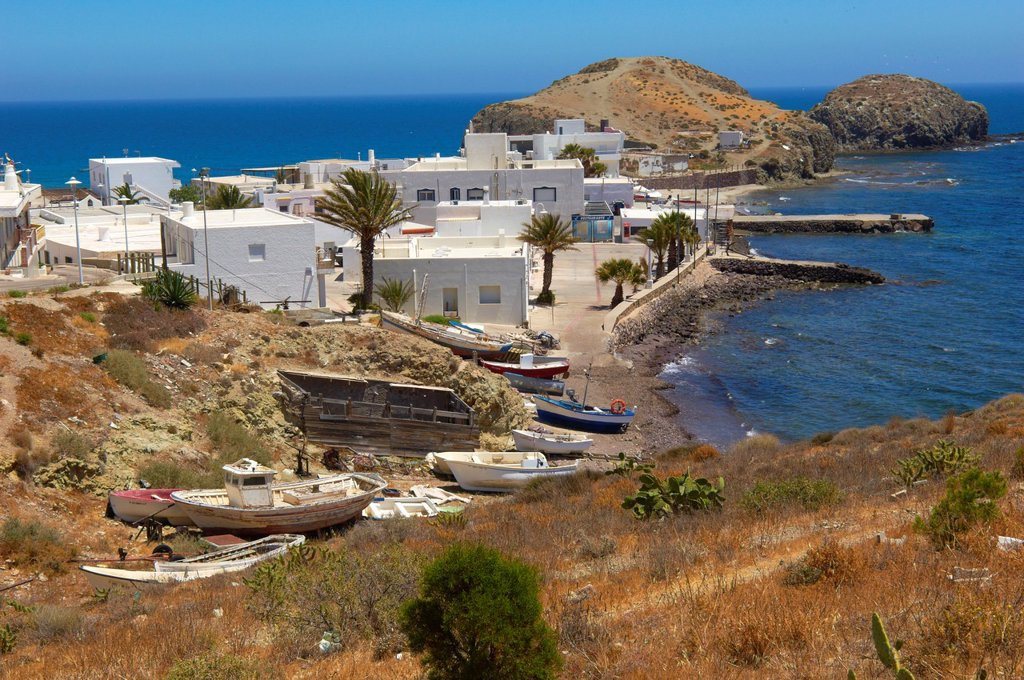 Stock Photo: 1566-1018207 Cabo de Gata, Isleta del Moro, fishing village, Cabo de Gata-Nijar Natural Park, Almeria, Spain, Europe