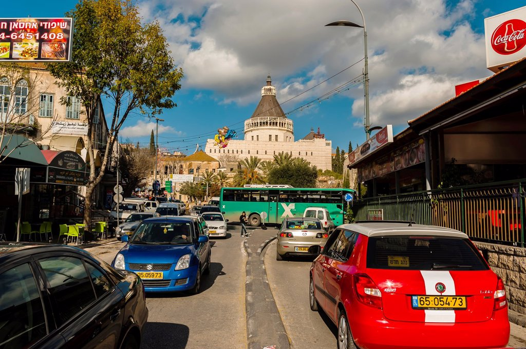 Stock Photo: 1566-1018258 Street scene Basilica of the Annunciation in background, Nazareth, Israel