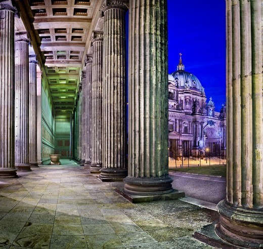 Altes Museum and Berlin Cathedral at night : Stock Photo