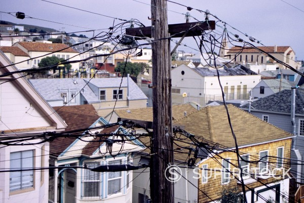Stock Photo: 1566-1019175 San Francisco, California - Visual Pollution, Bernal Hills District  Telephone and Electric Wires Interfere with the View from the Living Room of this House in Bernal Hills