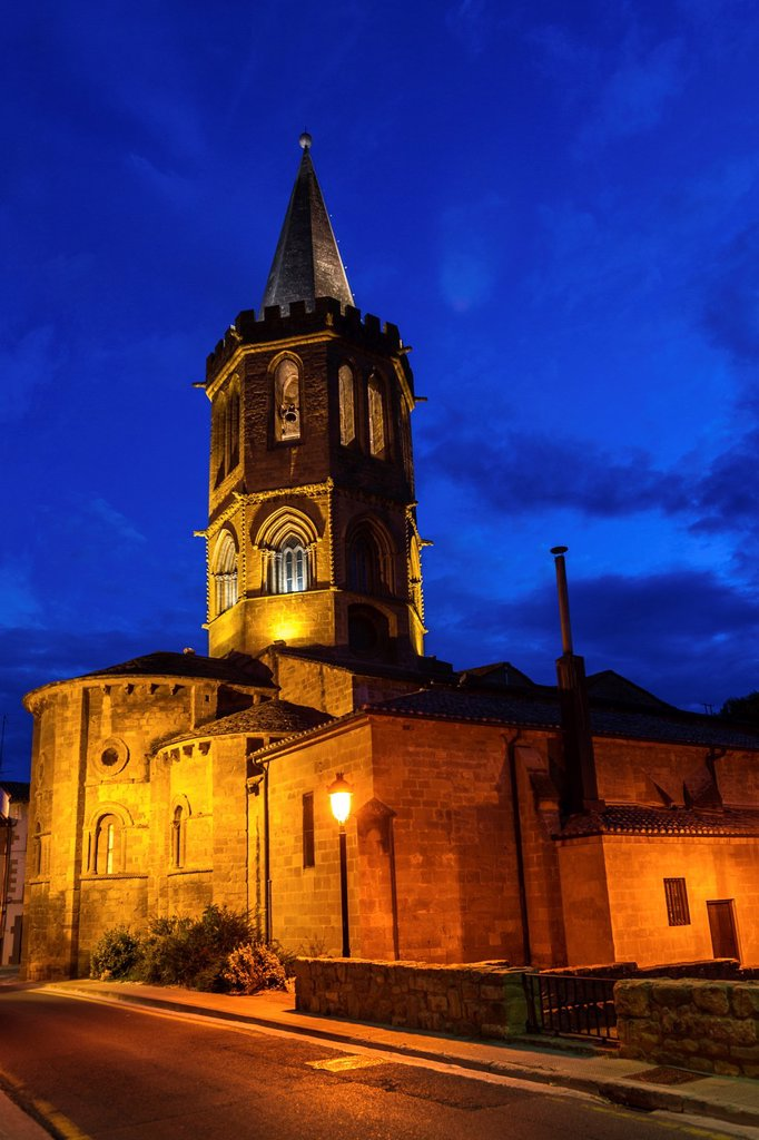 Church of Santa María la Real in medieval town Sangüesa in Navarre, Spain : Stock Photo