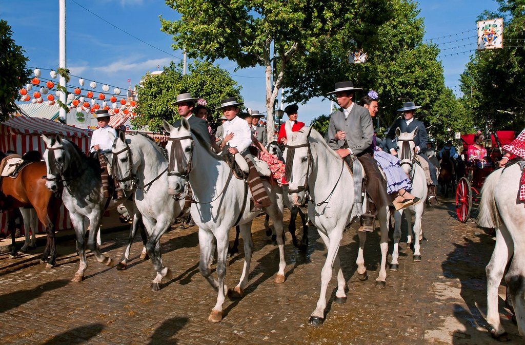 Stock Photo: 1566-1019228 April Fair  Horse riders with traditional costumes  Sevilla  Spain