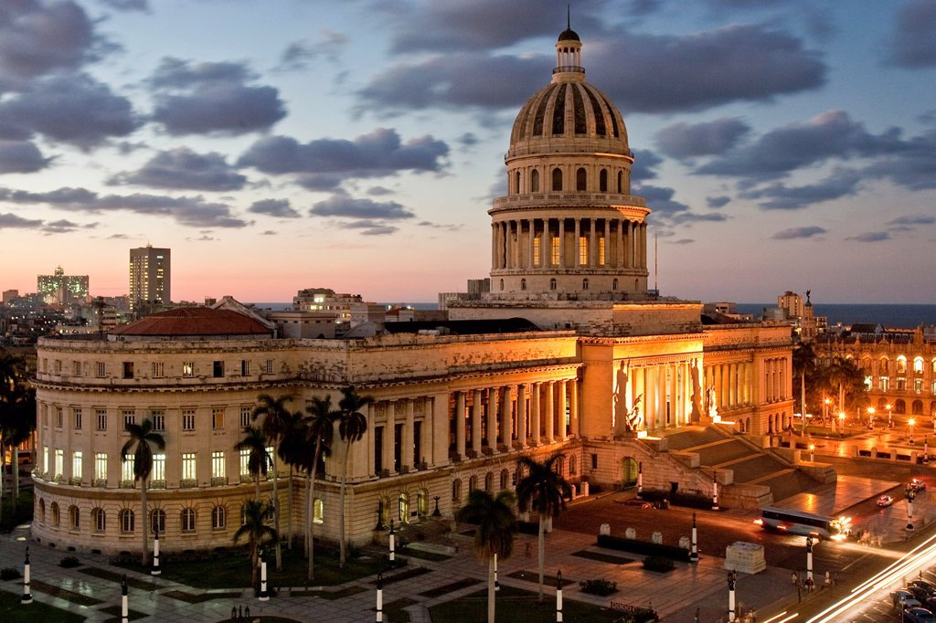 Stock Photo: 1566-1019495 El Capitolio at Dusk, Havana, Cuba