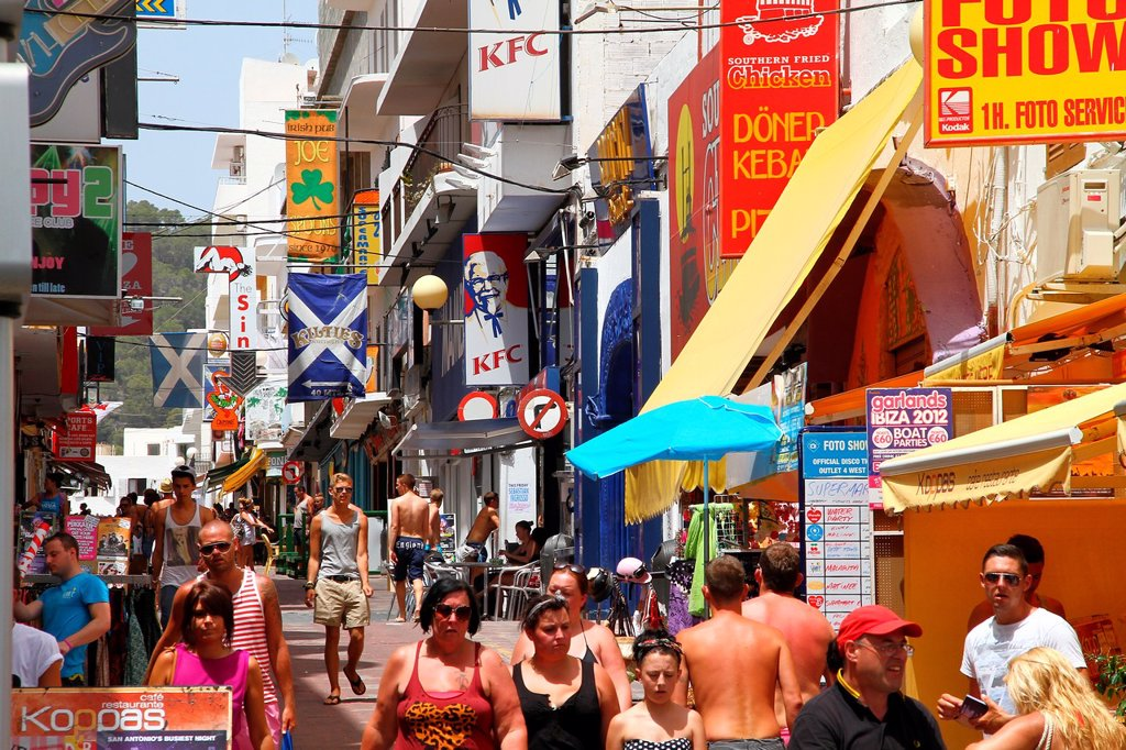 Stock Photo: 1566-1019804 Spain , balearic island , Ibiza , shopping street