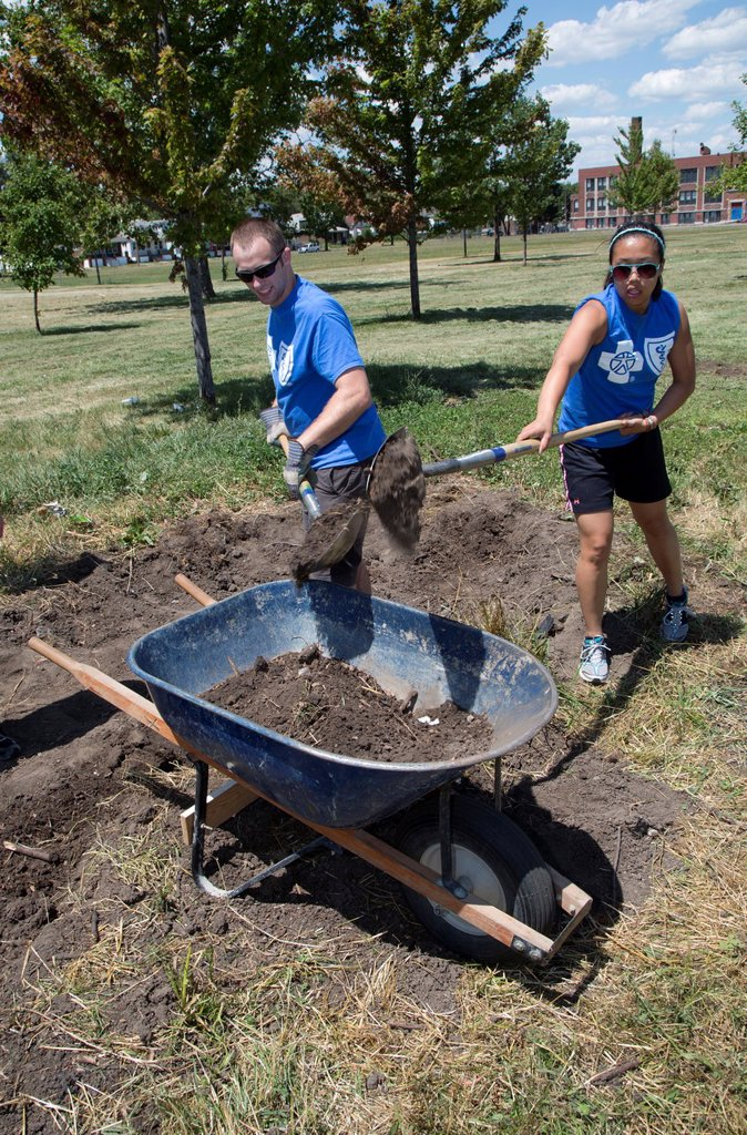 Stock Photo: 1566-1019872 Detroit, Michigan - Interns from Blue Cross Blue Shield of Michigan work as volunteers in Romanowski Park, helping to create a community garden