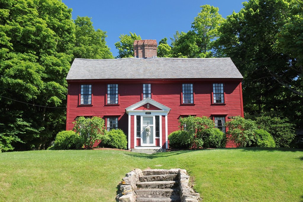 Stock Photo: 1566-1019990 An old colonial-style home in the town of Sandwich, Cape Cod, Massachusetts