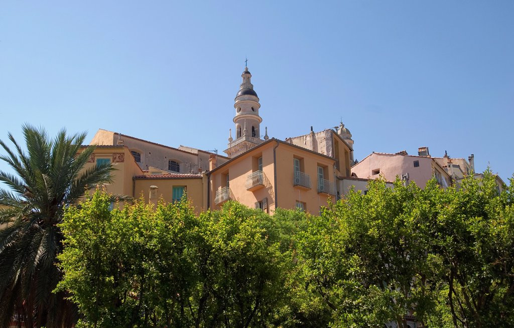 Menton, South of France, Basilica of St Michel above the rooftops in the Old Town : Stock Photo