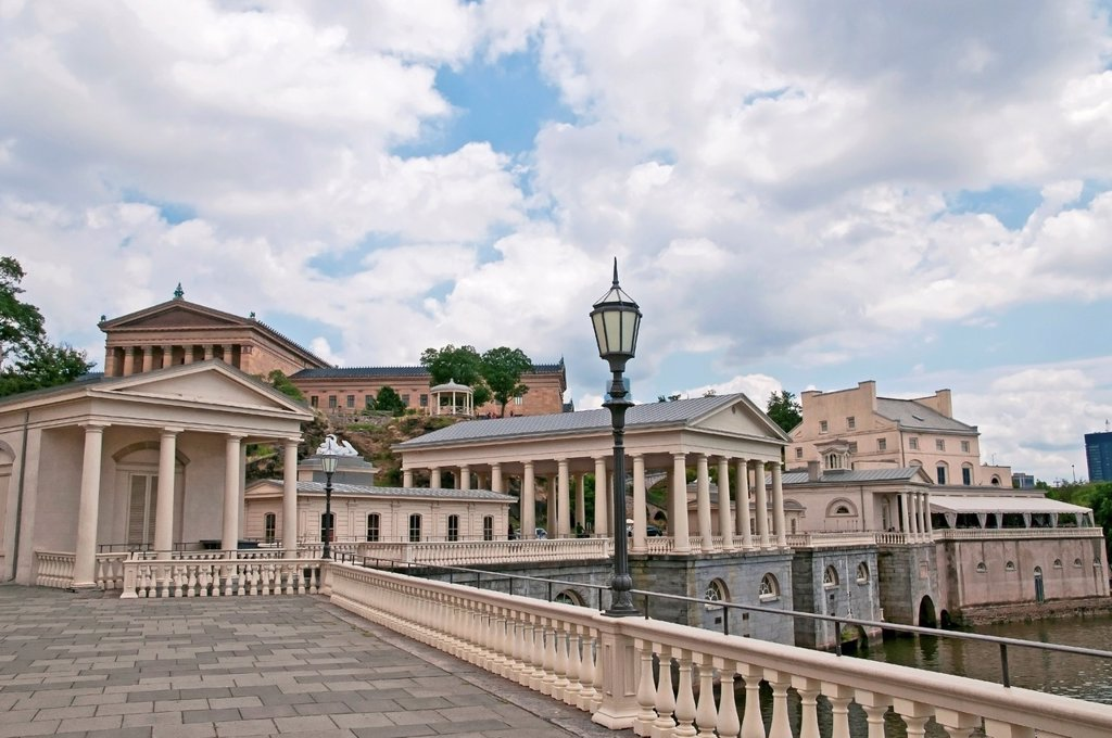 Stock Photo: 1566-1020110 Panorama of graceful neoclassical buildings of The Fairmount Water Works on the Schuylkill River, Philadelphia, Pennsylvania, USA