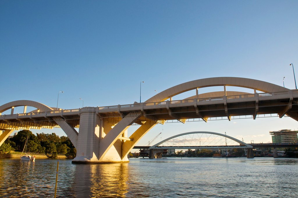 The William Jolly Bridge and the Meryvale Bridge in the Brisbane River, Brisbane, Australia : Stock Photo