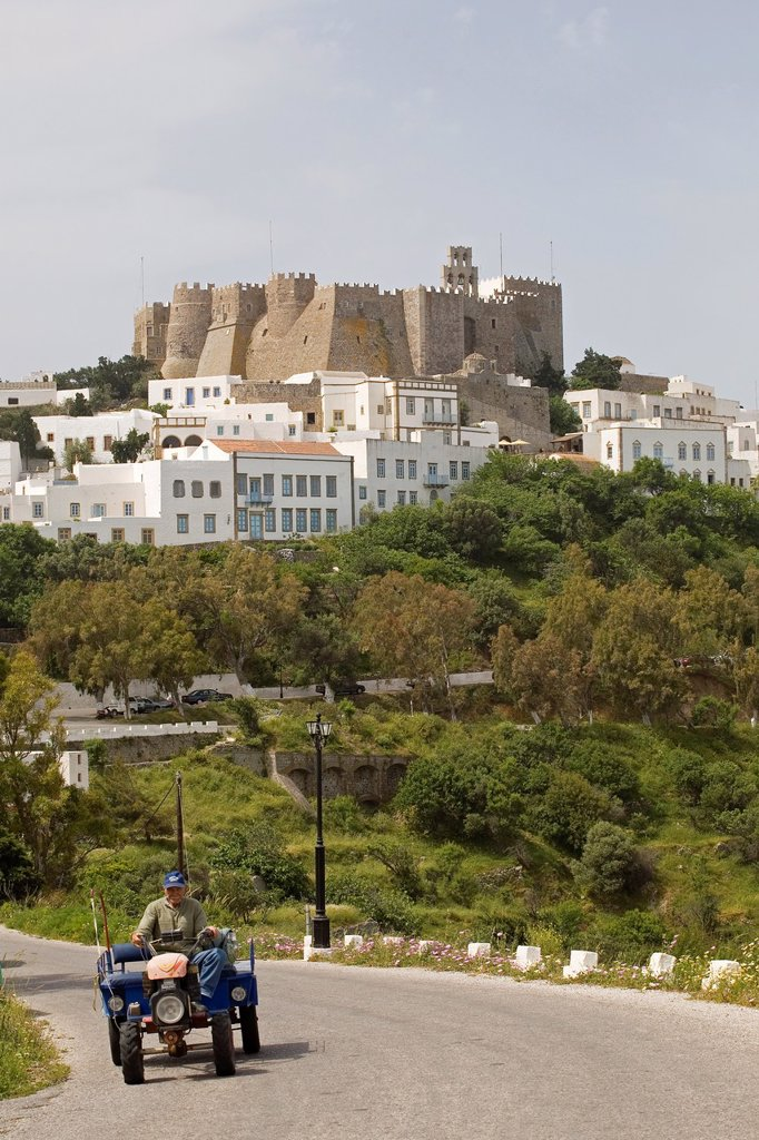 europe, greece, dodecanese, patmos island, chora village and monastery of saint john theologian : Stock Photo