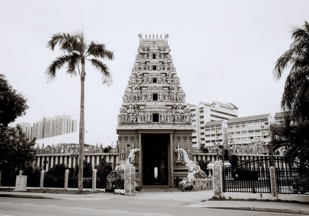 Stock Photo: 1566-1020784 The gopuram, or entrance tower, of Sri Srinivasa Perumal Temple on Serangoon Road in Singapore´s Little India  This temple is devored to Lord Vishnu