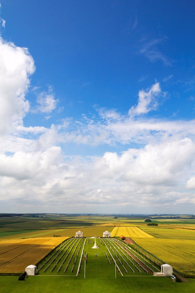 Villers-Bretonneux Military Cemetery viewed from the Australian National Memorial, Somme, Picardy, France : Stock Photo