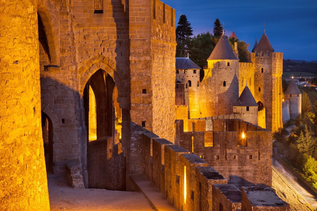 Stock Photo: 1566-1020924 Medieval town of Carcassonne, Languedoc-Roussillon, France