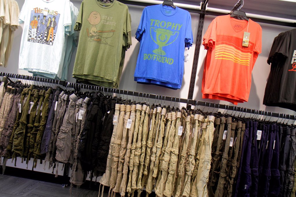 Stock Photo: 1566-1021225 Florida, Estero, Miromar Outlets, shopping, retail display, for sale, fashion, Bloomingdale´s The Outlet Store, men´s, clothing, pants, shirts, casual,
