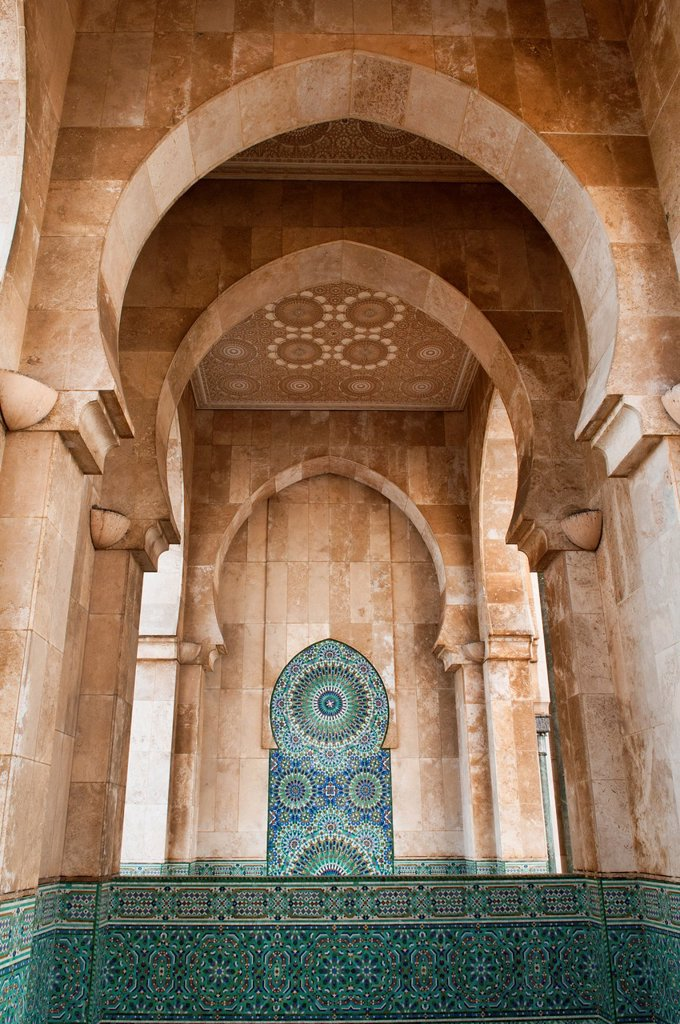 Stock Photo: 1566-1021386 beautiful design and detail at the amazing Hassan II Mosque in Casablanca, Morocco