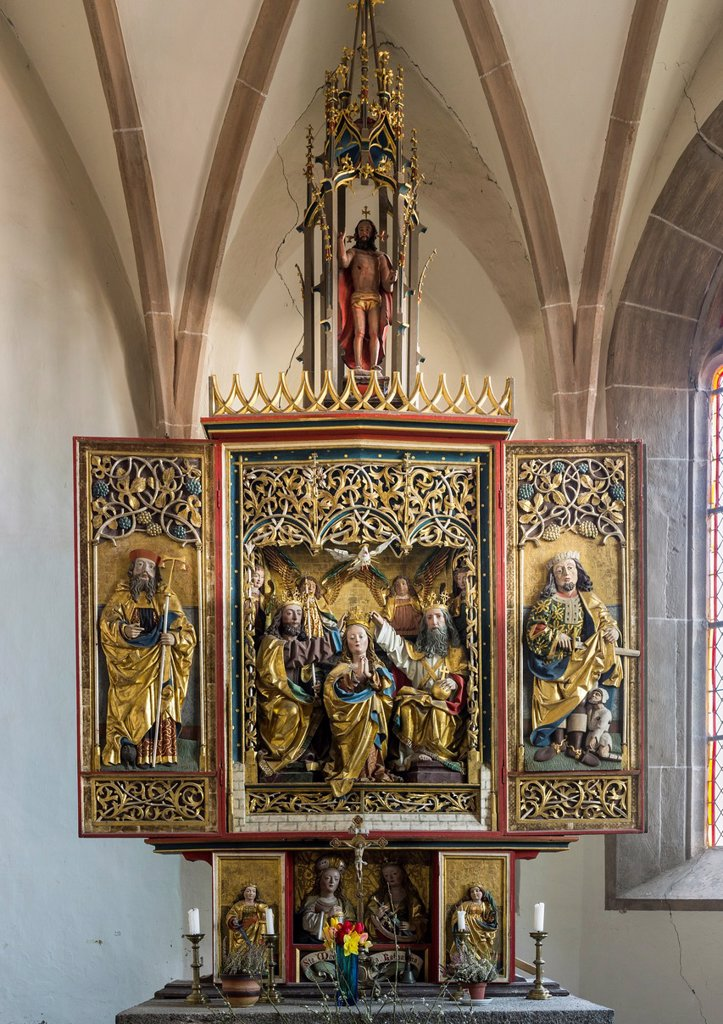 Stock Photo: 1566-1021722 The three gothic chapel of Bad Dreikirchen litterally: ´spa of the three churches´ The three churches are the landmark of the region of Barbian and are unique in europe due to the proximity of the three unconnected and independent chapels altar in the cha. The three gothic chapel of Bad Dreikirchen litterally: ´spa of the three churches´ The three churches are the landmark of the region of Barbian and are unique in europe due to the proximity of the three unconnected and independent chapels alta
