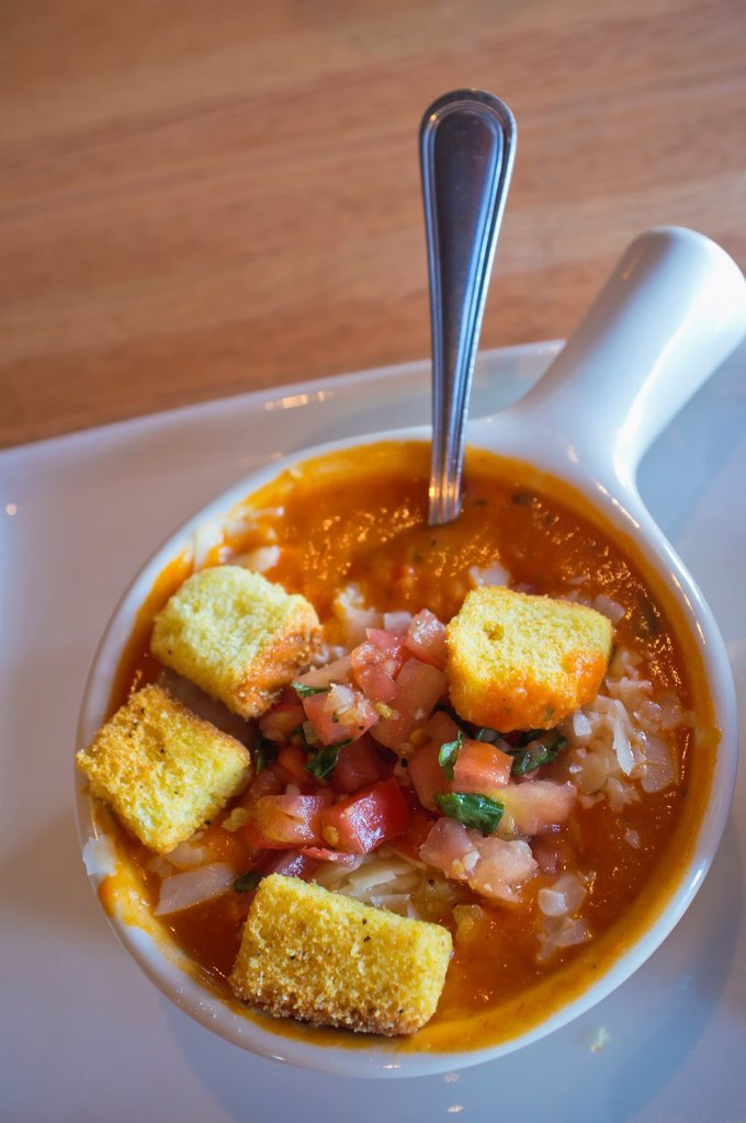 Stock Photo: 1566-1021780 Bowl of hearty tomato soup with croutons