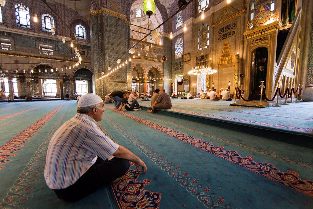 Stock Photo: 1566-1022122 Interior of the Sultan Ahmed Blue mosque, Istanbul