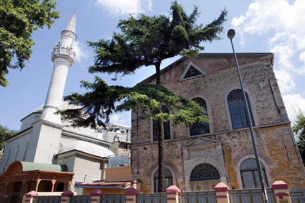 mosque and church on the asian side of Istanbul : Stock Photo