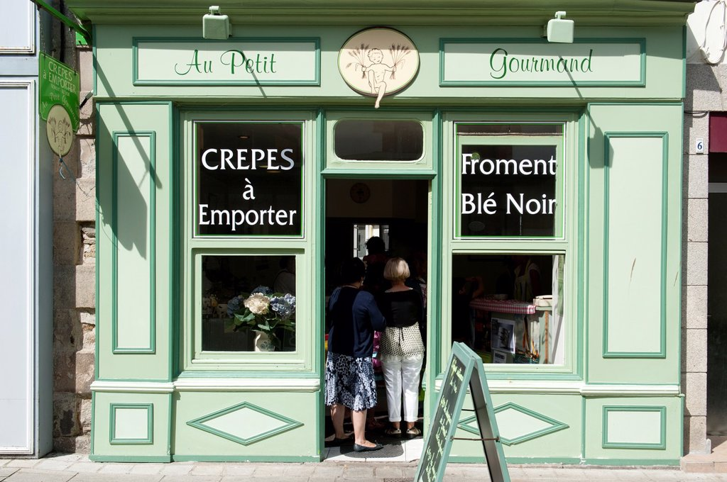 Pancakes shop at douarnenez france : Stock Photo