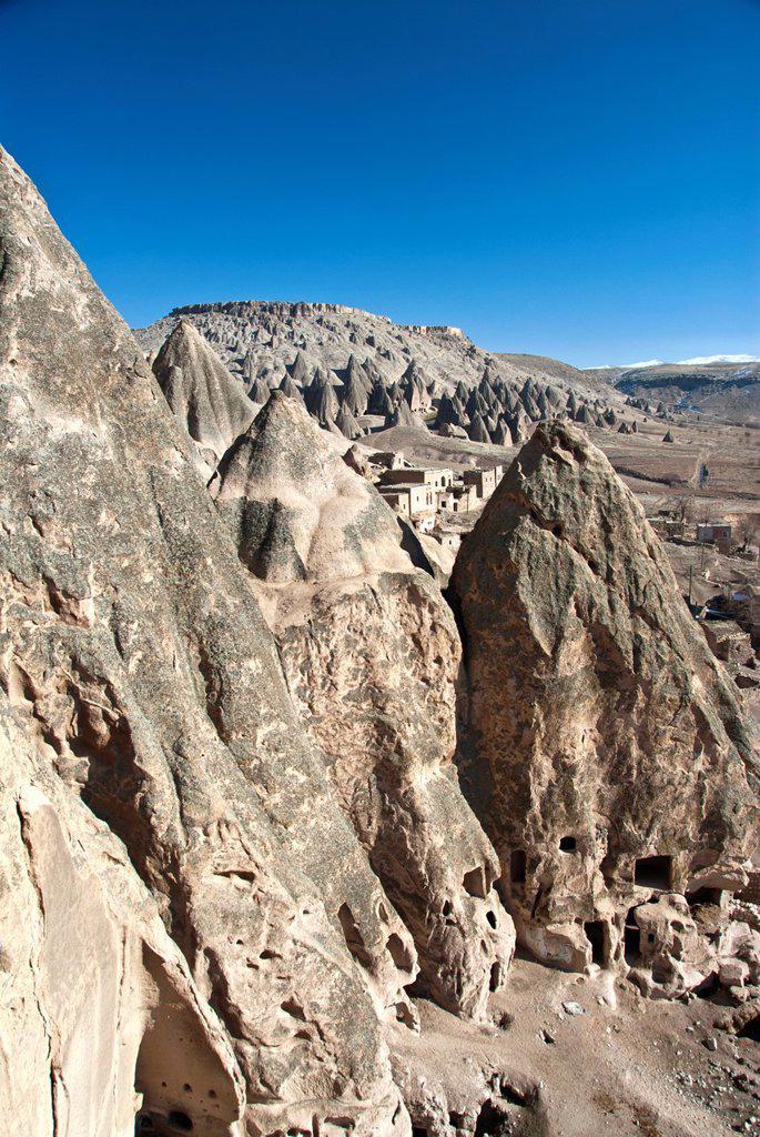 Rock formations at the Cappadocia, Goreme, Turkey : Stock Photo