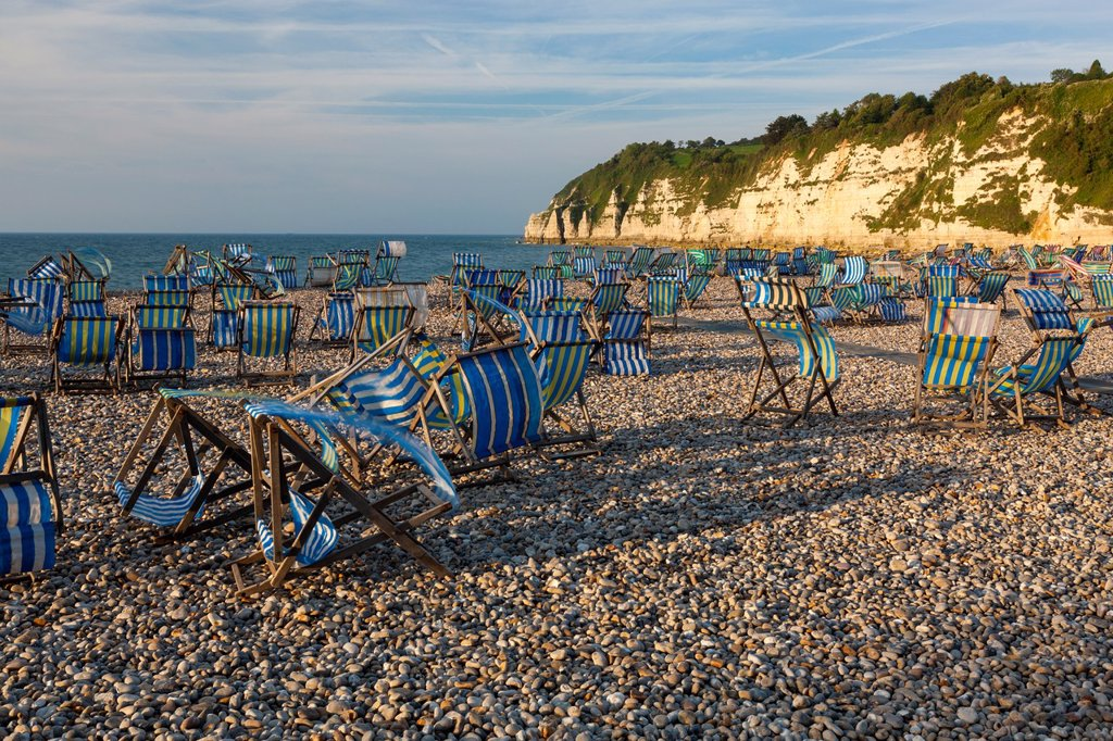 Beach in Beer, Lyme Bay, Jurassic Coast part of the South West Coastal Path, Devon, England, UK : Stock Photo
