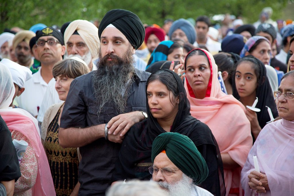 Stock Photo: 1566-1023415 Plymouth, Michigan - Hundreds of Detroit-area Sikhs held a memorial service and candlelight vigil at the Hidden Falls Gurdwara temple for victims of the Wisconsin shooting  Six Sikhs were killed during a religious service at a temple near Milwaukee by Wad. Plymouth, Michigan - Hundreds of Detroit-area Sikhs held a memorial service and candlelight vigil at the Hidden Falls Gurdwara temple for victims of the Wisconsin shooting  Six Sikhs were killed during a religious service at a temple near Milw