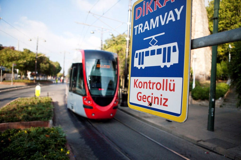 public transport tram in istanbul : Stock Photo