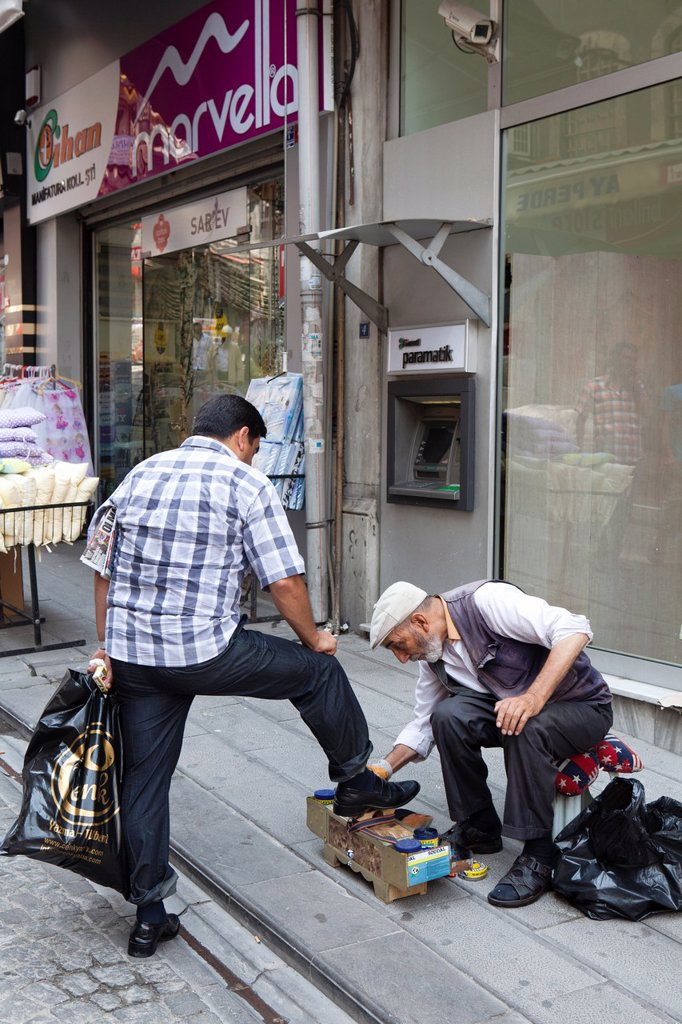 shoe polisher, istanbul : Stock Photo