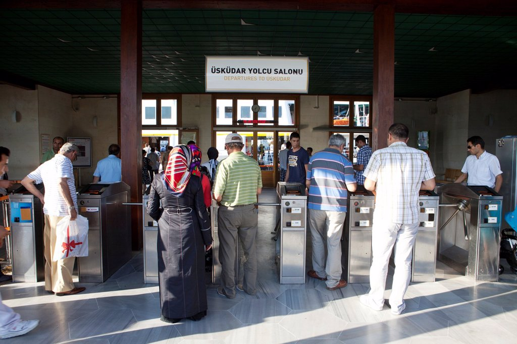entrance to the ferry on the bosphorus, istanbul : Stock Photo