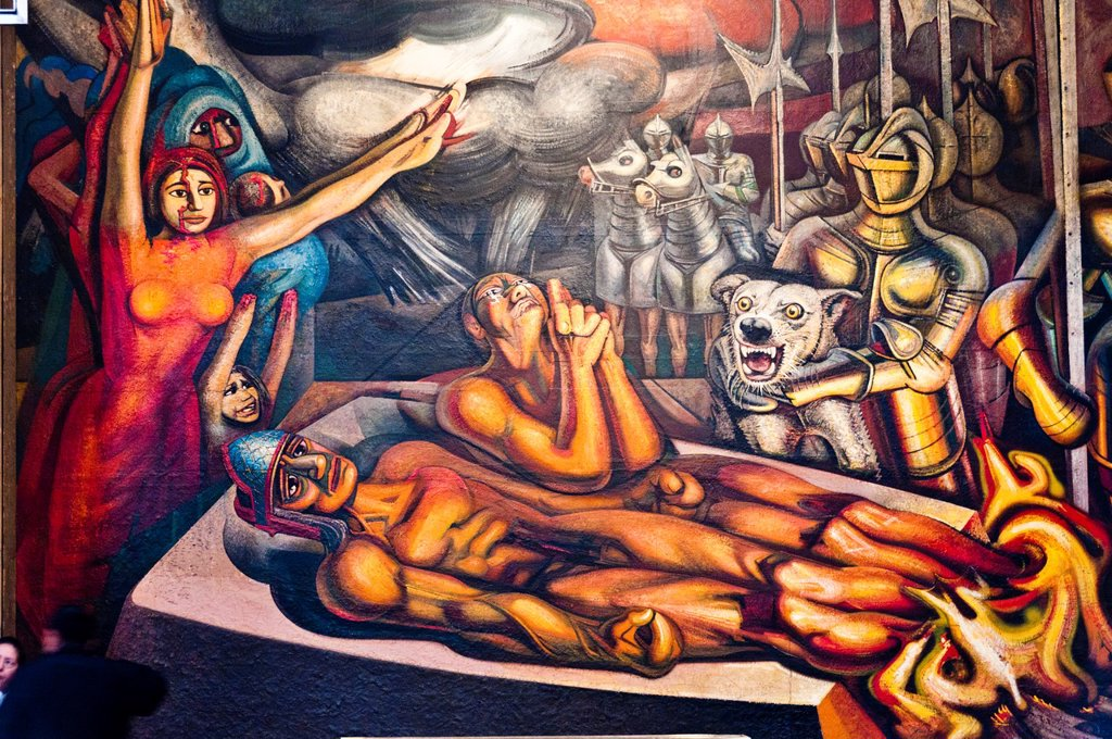 Stock Photo: 1566-1024559 America. Mexico. Mexico DF. Palacio de Bellas Artes Fine Arts Palace. Mural ´Apotheosis and Resurrection of Cuauhtémoc. David Alfaro Siqueiros´s work