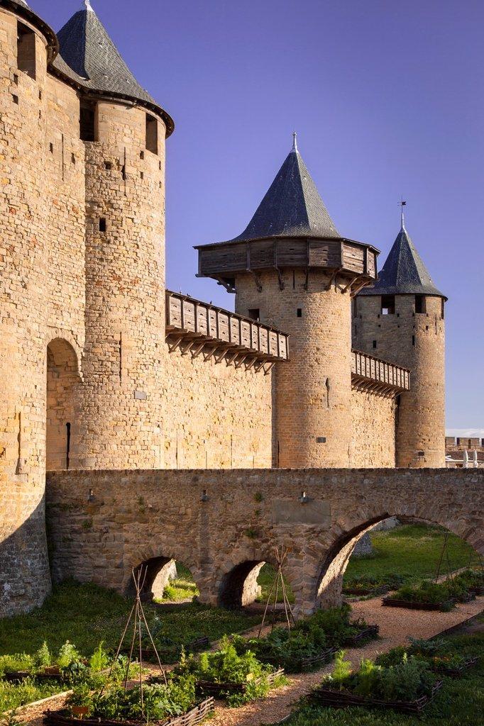 Castle inside La Cite Carcassonne, Languedoc-Roussillon France : Stock Photo