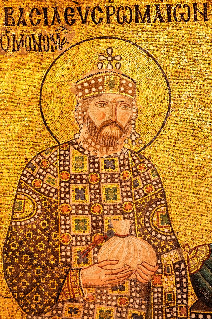 Stock Photo: 1566-1024950 Hagia Sophia, Detail of the Empress Zoe mural mosaic representing the Christ Pantocrator, the Empress Zoe and Constantine IX Monomakhos, Istanbul, Turkey