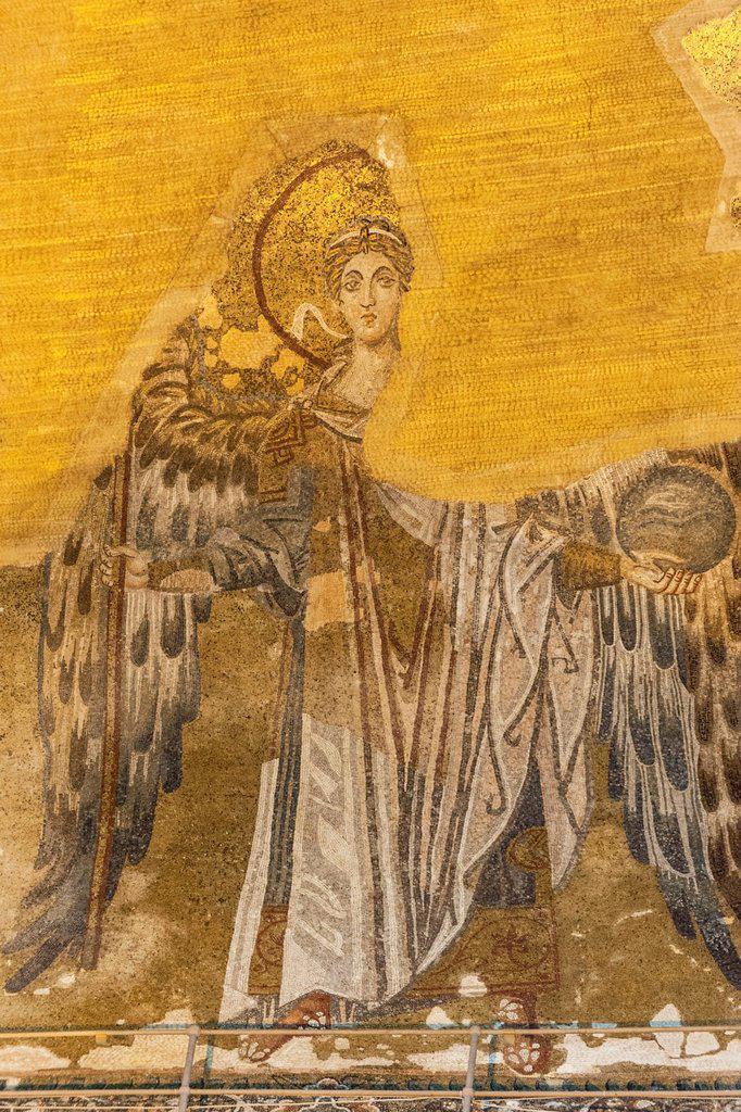 Stock Photo: 1566-1024951 Hagia Sophia, Mural mosaic representing Archangel Gabriel, Istanbul, Turkey