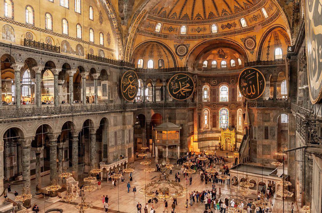Hagia Sophia, Interior view, Istanbul, Turkey : Stock Photo
