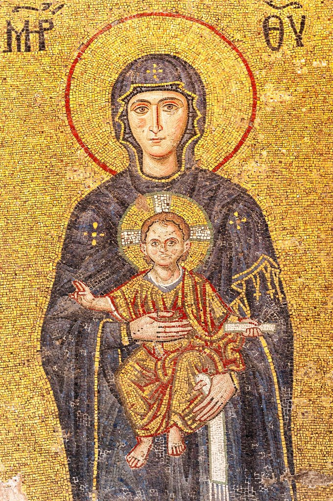 Hagia Sophia, Detail of the Comnenus mural mosaic representing the Virgin Mary and Child, Emperor Johannes Kommenos II and the Empress Irene, Istanbul, Turkey : Stock Photo