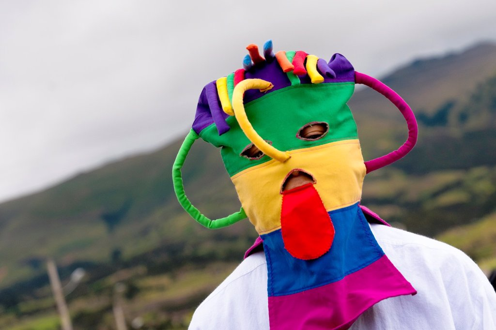 "Stock Photo: 1566-1025302 A man dancer, wearing a colorful masque, performs Aya Uma - the creature from the Indian myths, during the Inti Raymi fiesta in Pichincha province, Ecuador, 26 June 2010  Inti Raymi, ""Festival of the Sun"" in Quechua language, is an ancient spiritual cerem. A man dancer, wearing a colorful masque, performs Aya Uma - the creature from the Indian myths, during the Inti Raymi fiesta in Pichincha province, Ecuador, 26 June 2010  Inti Raymi, ""Festival of the Sun"" in Quechua language, is an ancient spi"
