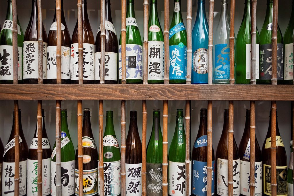 Stock Photo: 1566-1025472 Sake bottles outside of restaurant, Tokyo, Japan