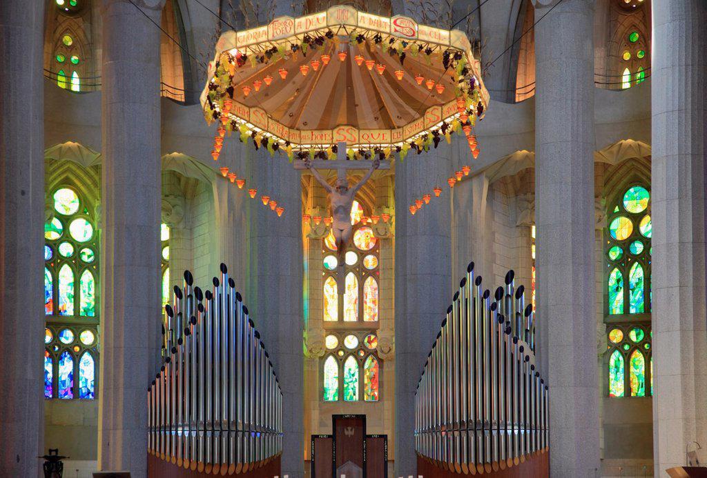 Stock Photo: 1566-1026097 Spain, Catalonia, Barcelona, Sagrada Familia, basilica, interior,